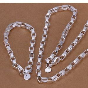 NEW 925 Silver solid Bracelet Necklace set W/M